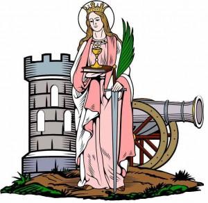 St Barbara tegning med kanon