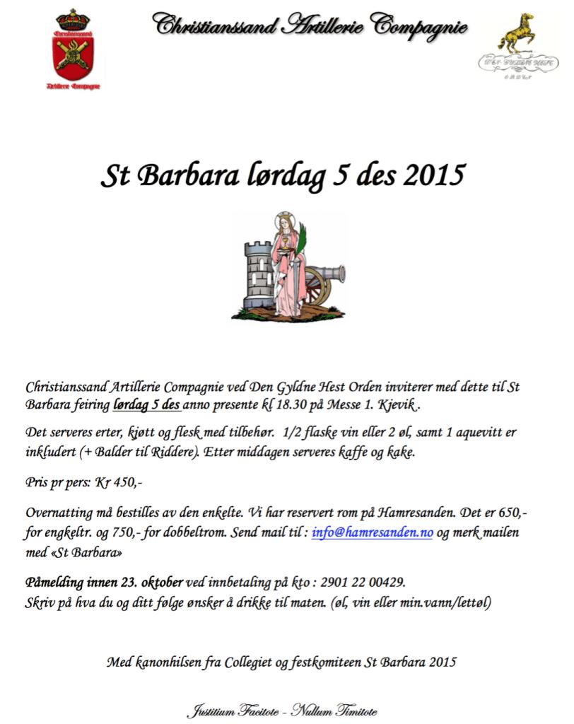 Innbydelse til St.Barbara