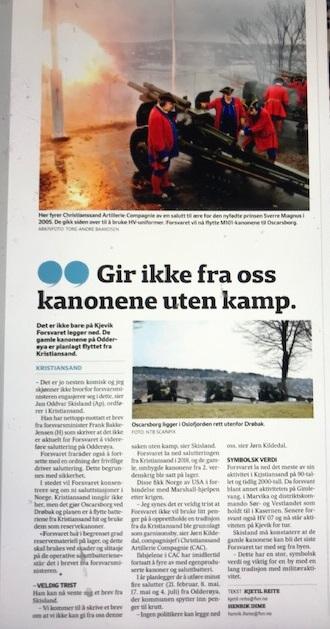 Det salutteres fortsatt fra Odderøya